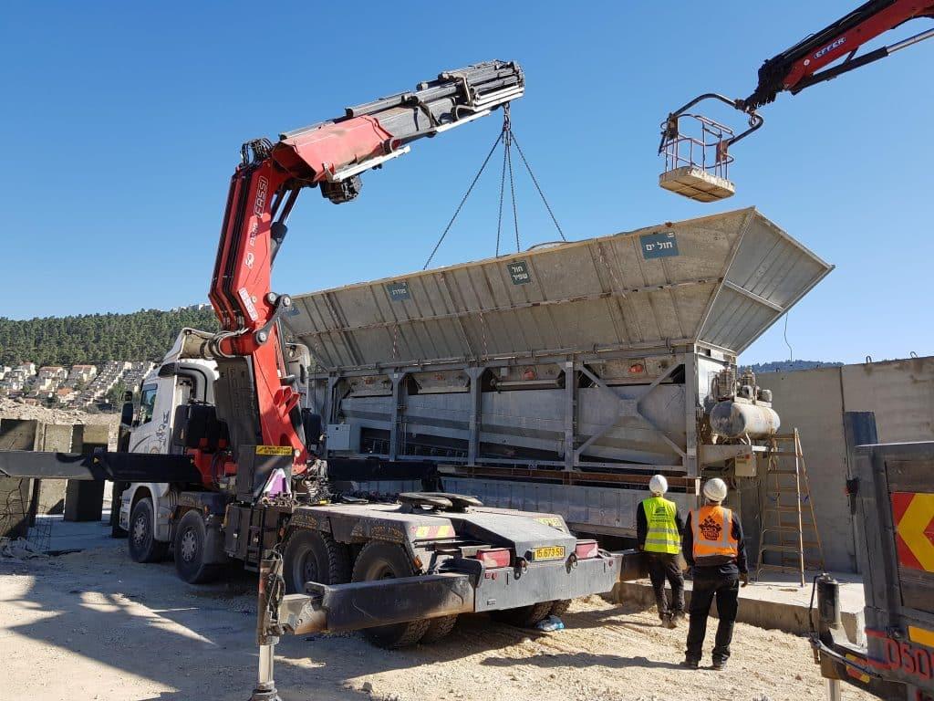 Construction of a concrete plant in Jerusalem, the Motza site